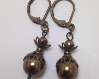 Antique brass pearl dangle earrings