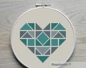 geometric modern cross stitch pattern heart, valentine heart, small, tangram style, PDF pattern ** instant download**