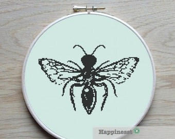 cross stitch pattern bee, cross stitch insect, modern cross stitch, PDF,  ** instant download**
