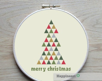 christmas cross stitch pattern, modern christmas tree, triangles, PDF, ** instant download**