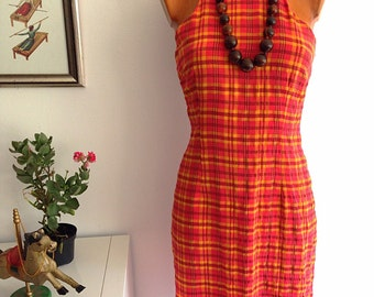 Vintage 90s Red and Yellow Sumdress Plaid Print