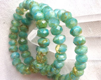 Czech Artisan 6 x 9 mm Faceted Rondell Rondelle Beads--Pale Olive Green and Turquoise with Golden Brown Picasso - 25 Beads
