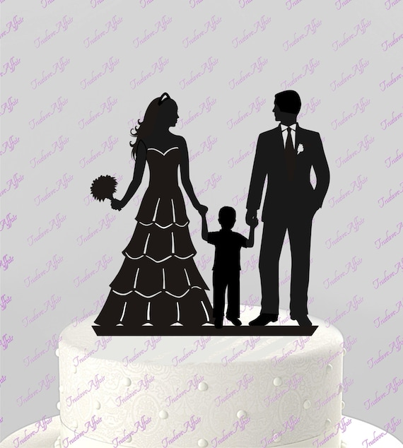 wedding cake toppers with baby boy wedding cake topper silhouette groom and with boy 26625