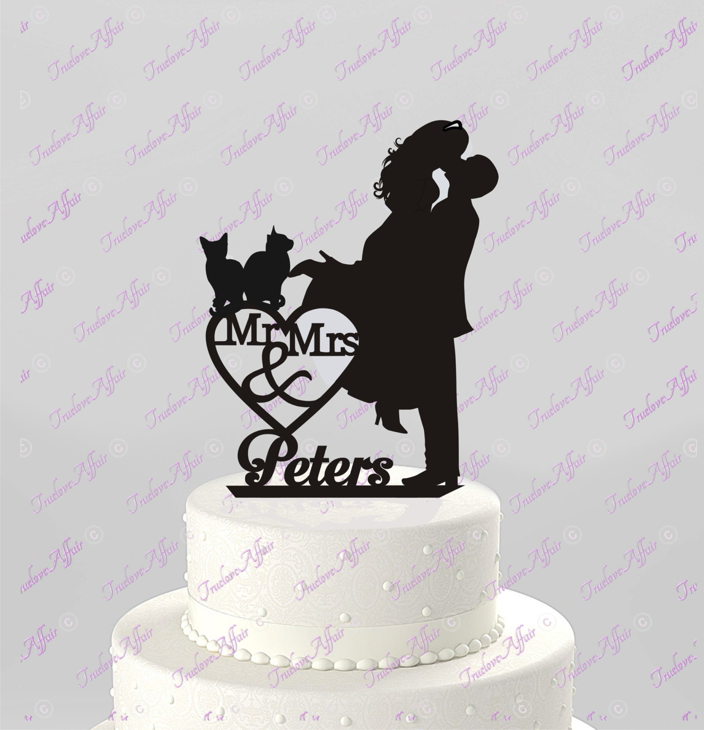 cat bride and groom wedding cake topper wedding cake topper silhouette mr amp mrs personalized 12452