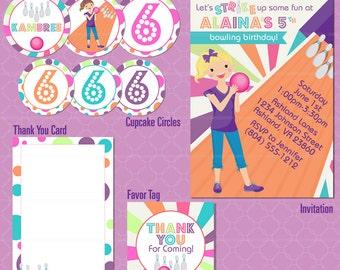 Bowling Party Invitation - Girls Glow Birthday Invitation - Bowl Pins Lane printable - Alley Birthday Party - Girl Birthday Invitation