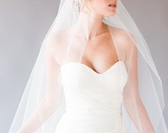 KATE VEIL | juliet cap veil with lace detail, chapel length veil, vintage veil, lace veil, long veil, single tier veil, tulle