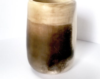 Small banded stoneware pot