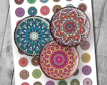 "Mandala 1"" bottlecap images kaleidoscope 1 inch circles Digital Collage Sheet pendant 25mm 30mm 1.25"" 1.5"" round printable download cabochon"