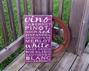 Rustic Kitchen Wine Sign - Wooden Distressed Wine Sign - Red Wine Typography Subway Art Cabernet Vino Noir Merlot Chardonnay Pinot Rieslingt