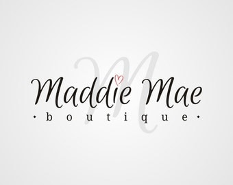 Premade Logo, Boutique Logo, Boutique Logo Design, Typography Logo, Custom Business Logo, Heart Logo
