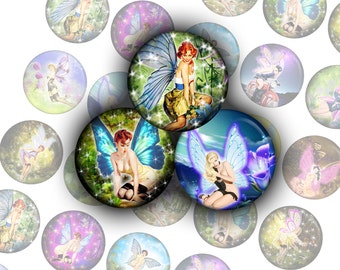 "Pin Up Fairies vintage - bottle cap images -1'' circles 25mm, 30mm, 1.25"", 1.5"" rounds Digital Collage, Instant Download, BUY 2 GET 1 FREE"