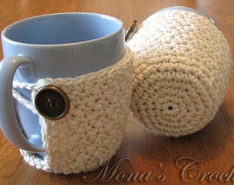 Hand Crocheted Coffee Mug Coaster | Coffee Mug Cozy | Coffee Cup Cozy | Coffee Mug Cover | Coffee Cup Cover - Beige - Set of 2