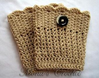 Hand Crocheted Women's Tan Boot Cuffs | Crochet Boot Topper | Crochet Leg Warmers | Crochet Boot Socks