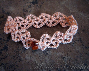 Hand Crocheted Lacy Cuff Bracelet - Peach