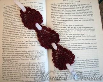 Beautiful Hand Crocheted Burgundy Pineapple Bookmark | Red Bookmark | Women's Bookmark | Bookmark For Mom