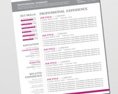 Resume Design Template - Cover Letter, References - Instant Download Microsoft Word - Editable, Pink, Black, White (Holly Template)