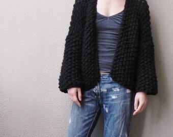 Handknit, Chunky, Oversized Cardigan, Wool Jacket, 3/4 Sleeve Cardigan, Fall Jacket, Black Jacket, Slouchy Jacket