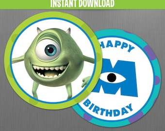 Disney Monsters Inc. Birthday Circle Labels - Instant Download and Edit with Adobe Reader