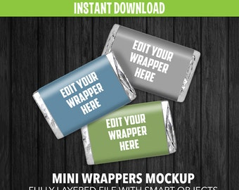 Mini Chocolate Wrappers Mockup - Instant Download - Adobe Photoshop Layered file