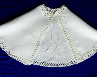 Linen Christening Baptism cape with crochet border/ READY TO SHIP / Made in Lithuania