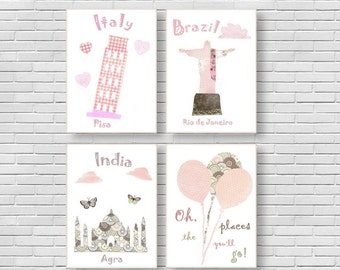 53,Oh,the places you'll go, dr seuss, kids wall art, baby girl room decor, travel nursery, pink,Italy,Brazil,India, nursery