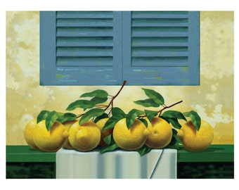 Lemons Art Print, Fruit Painting Print, Tuscany Print, Lemons Art Print, Original Lemons Painting, Lemons Still Life Print, Tuscany Window