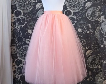 Peach Tulle Skirt With Ribbon Waistband - Adult Midi Tutu - Custom Made to Your Size