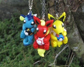 Pokemon Inspired: Kanto Eeveelution Necklaces or Ornaments! Vaporeon, Jolteon and Flareon!