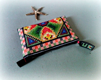 Sale-35% Hand embroidered Spring fantasy Medium Clutch, One of a kind, Handmade Cosmetic case, Mother's Day gift, Special day, Everyday