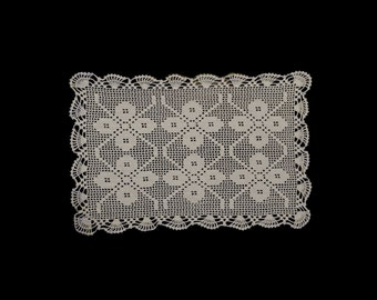 Vintage German handmade crocheted doily or centerpiece-- white with 6 flowers -- from Germany