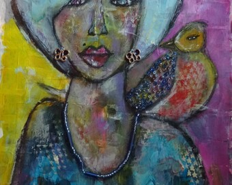 Bird on My Shoulder mixed media original art
