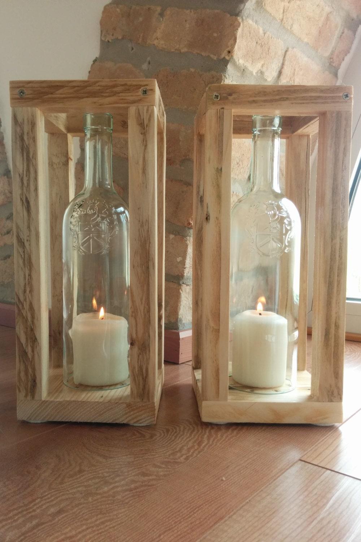 Set di 2 portacandele da esterno o interno fatti con bottiglie for Narratore e interno o esterno