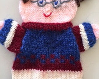 Puppet 50 th, hand knitted grandfather doll