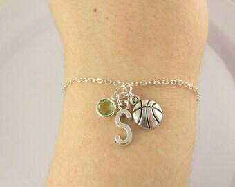 Basketball Bracelet- choose a birthstone and initial, Basketball Jewelry, Basketball Gift, Basketball Mom, Basketball Charm, Sports Bracelet
