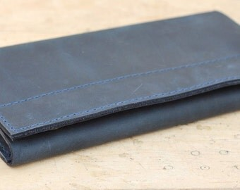 Leather wallet, big wallet for men, handmade wallet from genuine leather, W008 Blue