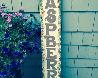 Sign,Raspberrys, Hand Painted, wood, kitchen decor, garden, shed, porch decor