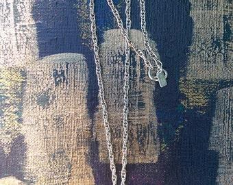 Women's vintage necklace and pendant. Karen Brent vintage silver plated chain, Glass cherry vintage pendant.