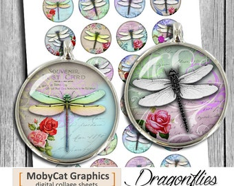 Dragonflies Printable Circles 12mm 14mm 20mm Cabochon images Digital Collage Sheet Instant Download