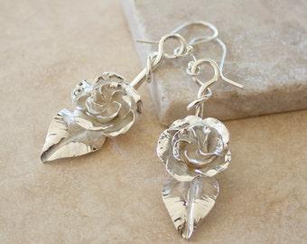 Argentium Rosebud Drop Earrings, Rose Earrings, Silver Rose Earrings, Rosebud Earrings, Bridesmaid gifts, Bridal Jewelry