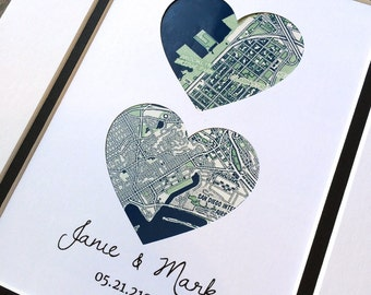 Custom Map Art- First Anniversary or Wedding / Engagement Gift- Map Hearts Print- One Year 1st Anniversary- Long Distance Relationship Gift