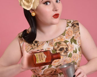 Wiggle Dress - Pinup Dress - Skull Dress - Shift Dress - Retro Dress - Pin Up Dress - Skulls and Roses - Custom Size including Plus Sizes
