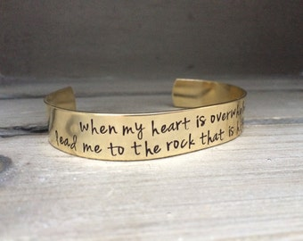 When My Heart Is Overwhelmed Lead Me To The Rock That Is Higher Than I Psalm 61:2 Bible Verse Scripture Bracelet Hand Stamped Aluminum Brass