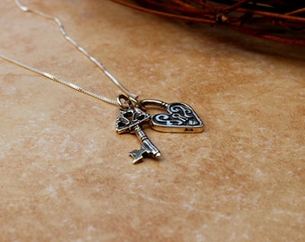 Lock and key necklace, Sterling silver lock and key, Skeleton key, Heart lock