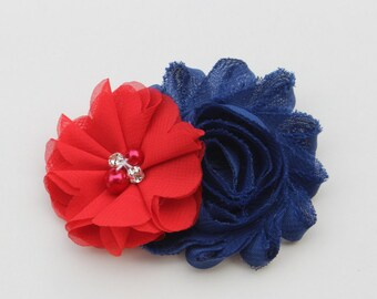 Navy blue hair bows girls navy and red bows kids hair clip navy blue and red hair clip toddler hair bow navy and red adult hair clip