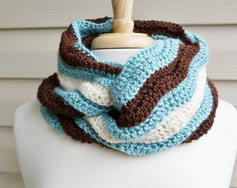 Crochet Super Soft, Ripple Stich Infinity Scarf in Aqua, Chocolate Brown and Cream