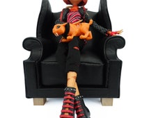 1:6 scale Wingback Victorian Chair, Barbie furniture, Monster High Furniture, Ever After High Furniture