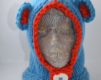 Blue Bear Hood with Orange Trim and White button, for Child 12 mos+