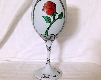 Princess inspired hand painted wine glass.