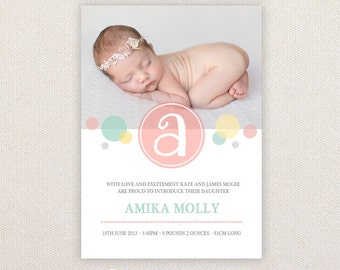 Girls Photo Birth Announcement. Whimsy bubbles. I Customize, You Print.