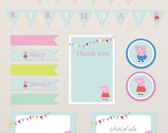 INSTANT DOWNLOAD printable party kit. Peppa Pig birthday printables. PDF files.